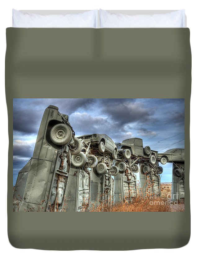 Carhenge Duvet Cover featuring the photograph Carhenge Automobile Art by Bob Christopher