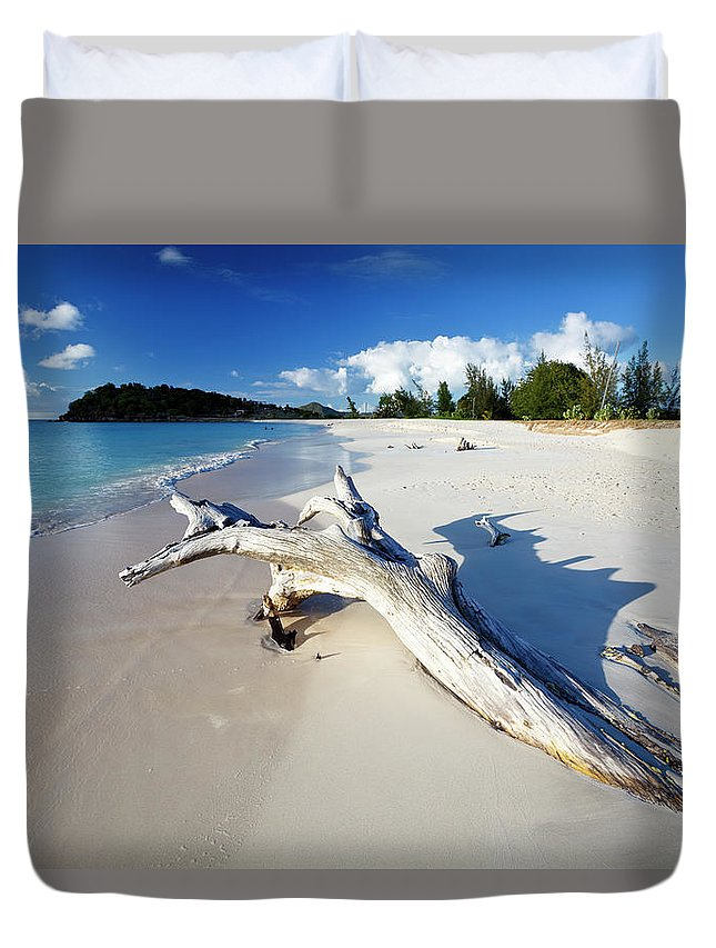 Water's Edge Duvet Cover featuring the photograph Caribbean Beach With Driftwood by Michaelutech