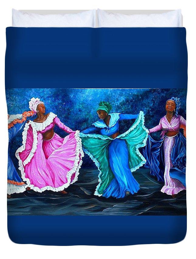 Caribbean Dance Duvet Cover featuring the painting Caribbean Folk Dancers by Karin Dawn Kelshall- Best