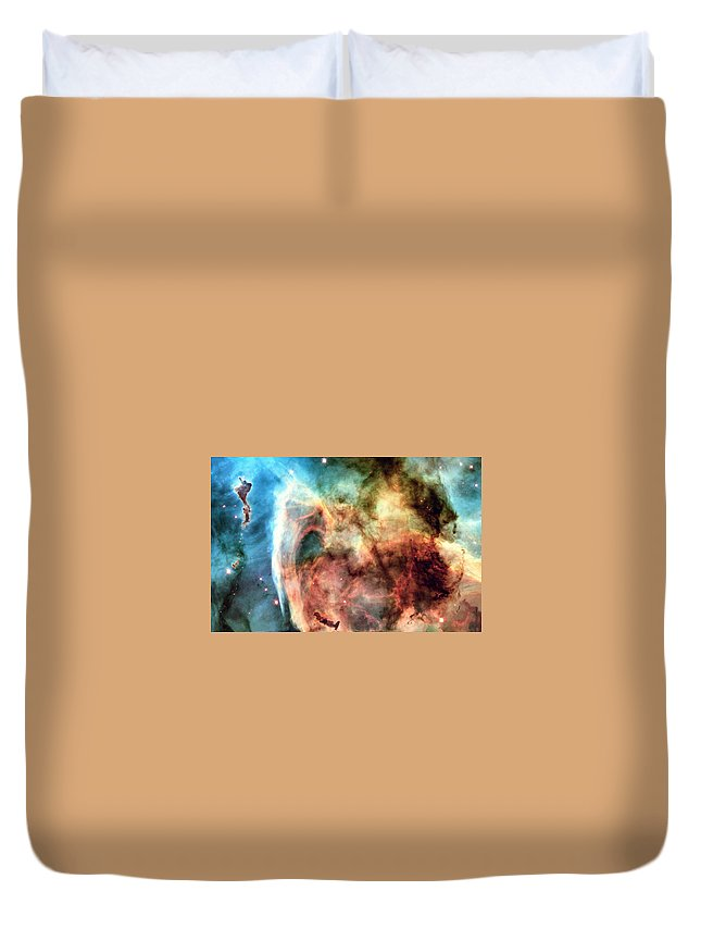 Abstract Duvet Cover featuring the photograph Carina Nebula - Deep Space by World Art Prints And Designs
