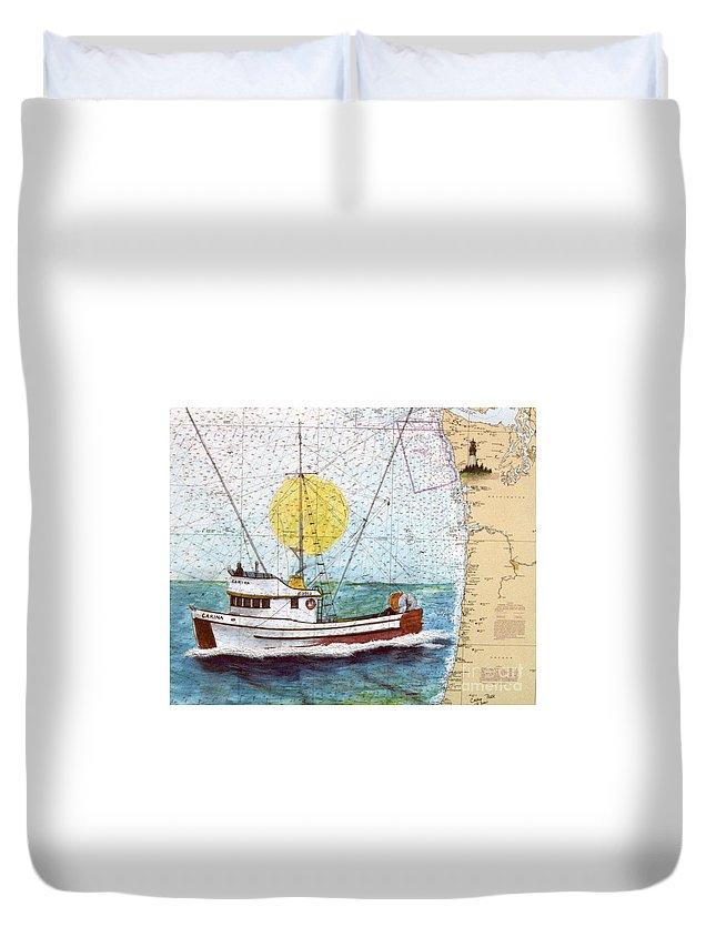 Carina Duvet Cover featuring the painting Carina Trawl Fishing Boat Nautical Chart Map Art by Cathy Peek