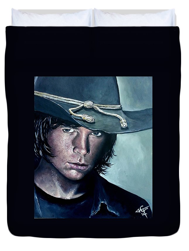 Carl Grimes Duvet Cover featuring the painting Carl Grimes by Tom Carlton