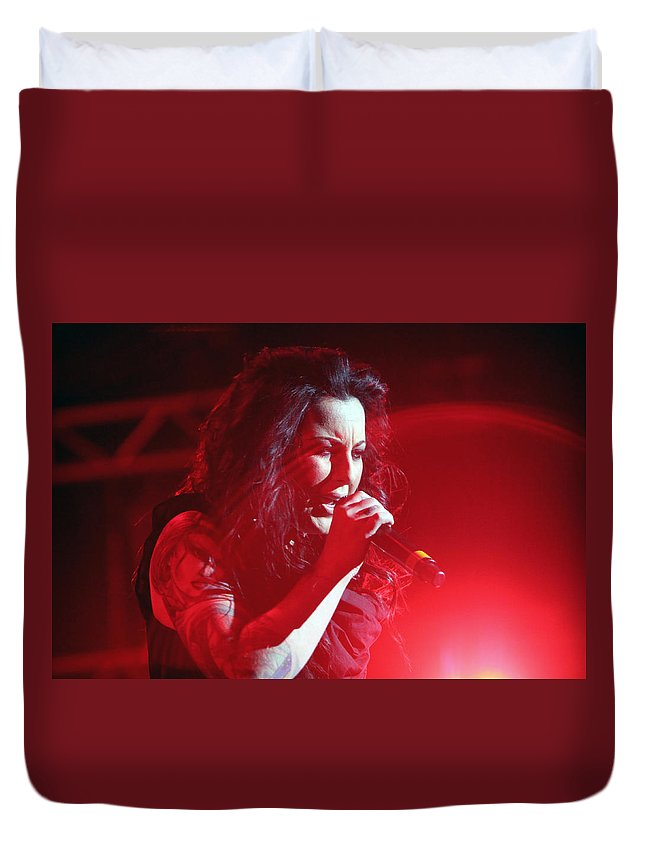 Carly Smithson Duvet Cover featuring the photograph Carly And The Concert Lighting by Shoal Hollingsworth