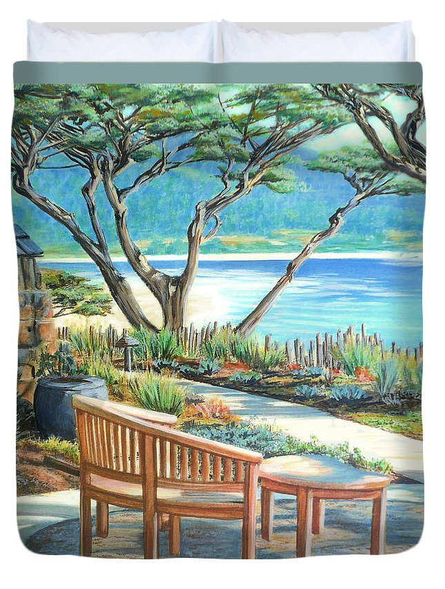 Carmel Duvet Cover featuring the painting Carmel Lagoon View by Jane Girardot