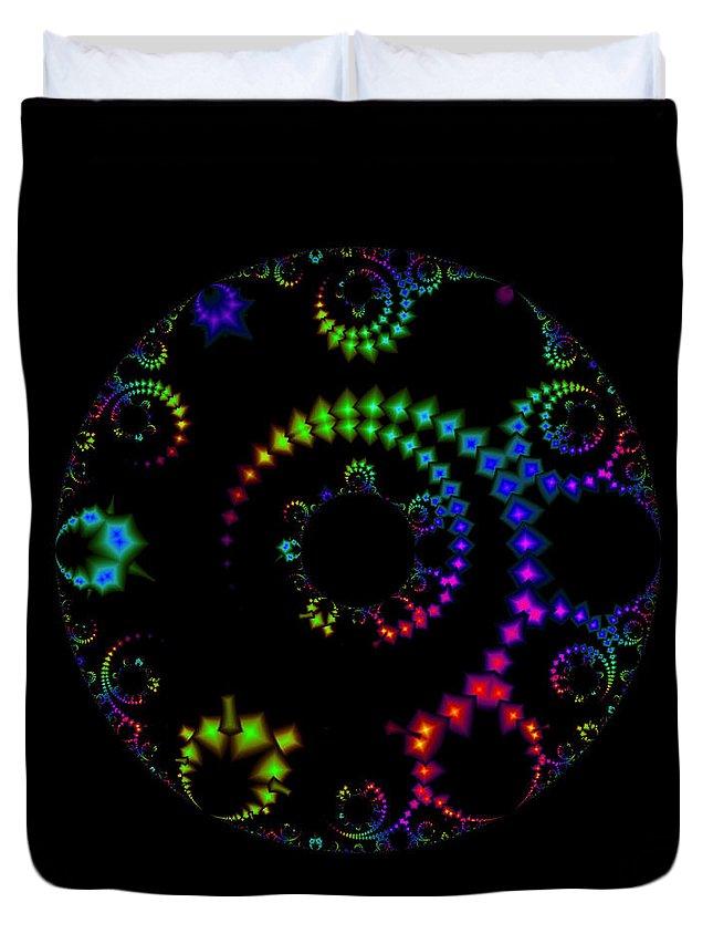 Fractal Duvet Cover featuring the digital art Carnival At Night 1 Fractal by Judi Suni Hall