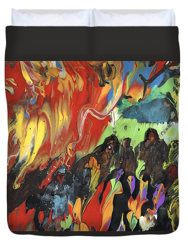 Travel Duvet Cover featuring the painting Carnival In Spain by Miki De Goodaboom