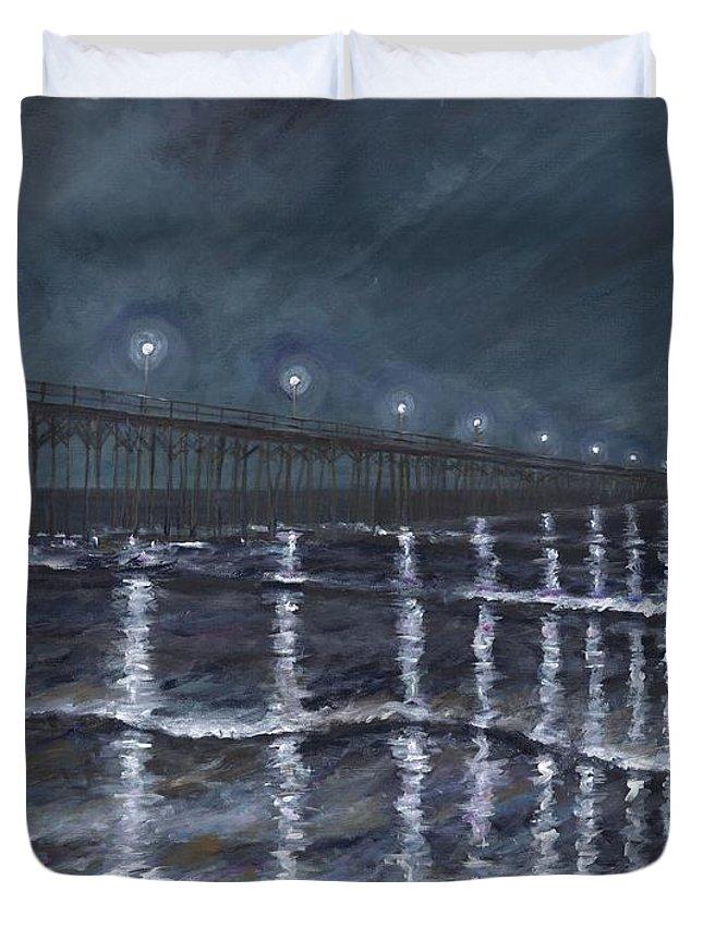 Carolina Beach Pier Duvet Cover featuring the painting Carolina Beach Pier By Night by Bev Veals