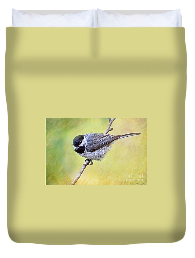 Chickadee Duvet Cover featuring the photograph Carolina Chickadee On Angled Perch - Digital Paint Iv by Debbie Portwood