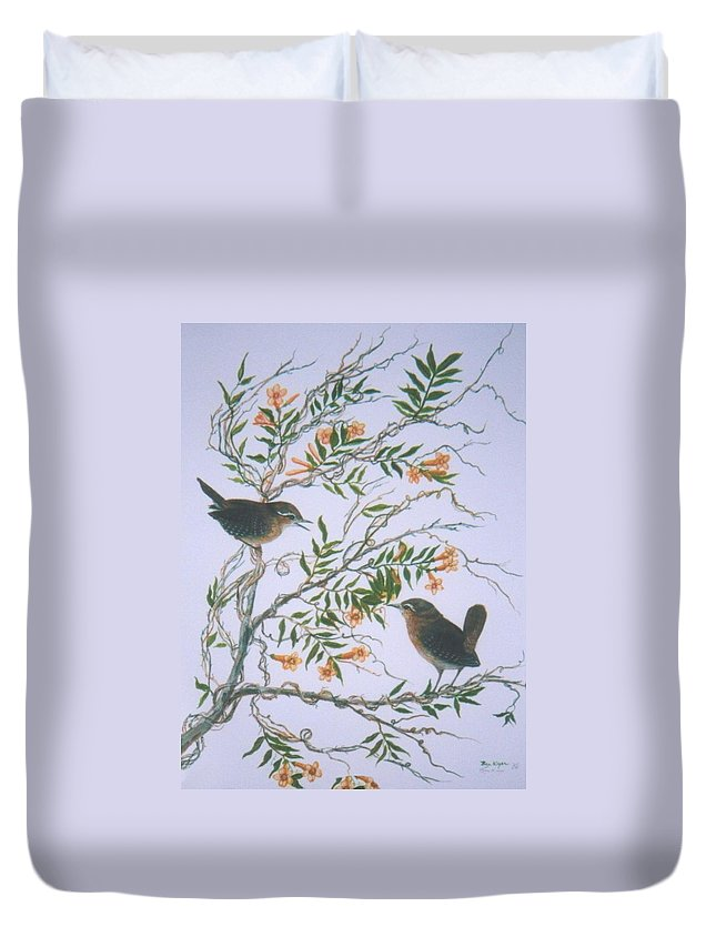 Bird; Flowers Duvet Cover featuring the painting Carolina Wren And Jasmine by Ben Kiger