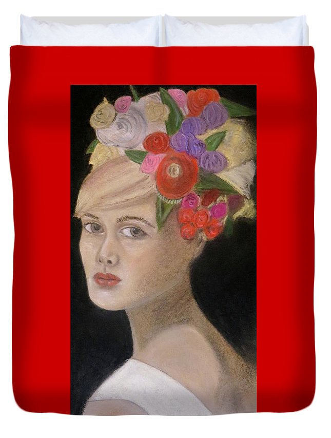 Portrait Duvet Cover featuring the painting Caroline by C Pichura