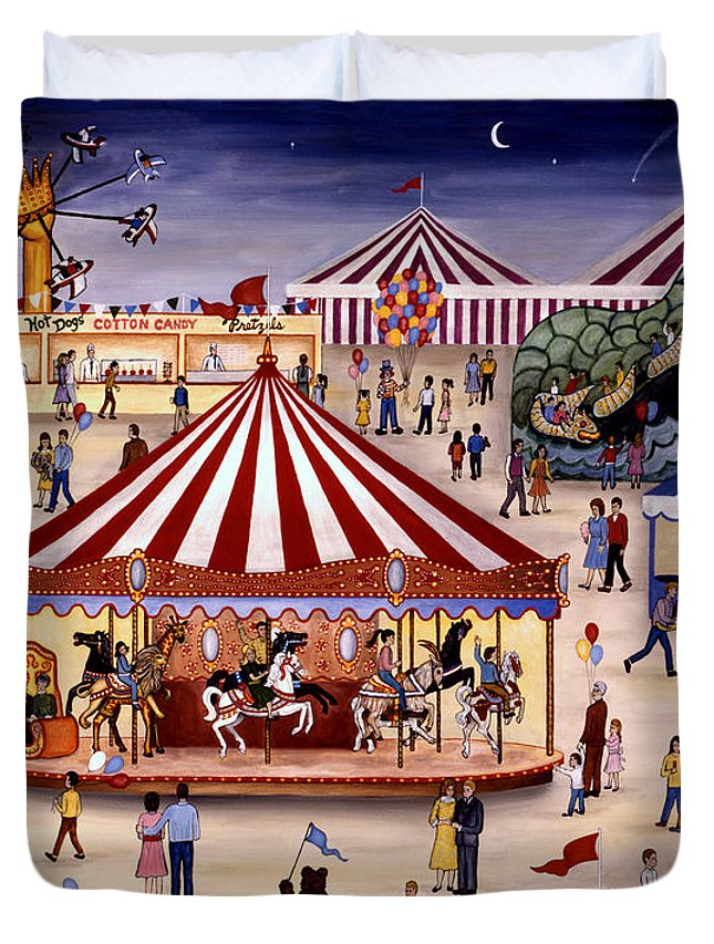 Carnival Duvet Cover featuring the painting Carousel 90 by Linda Mears