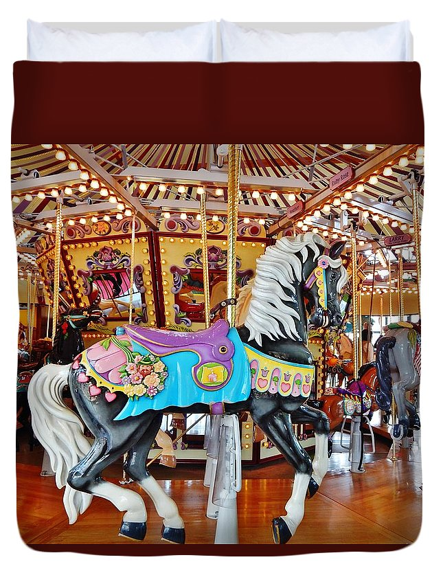 Carousel Duvet Cover featuring the photograph Carousel Horse 4 by VLee Watson