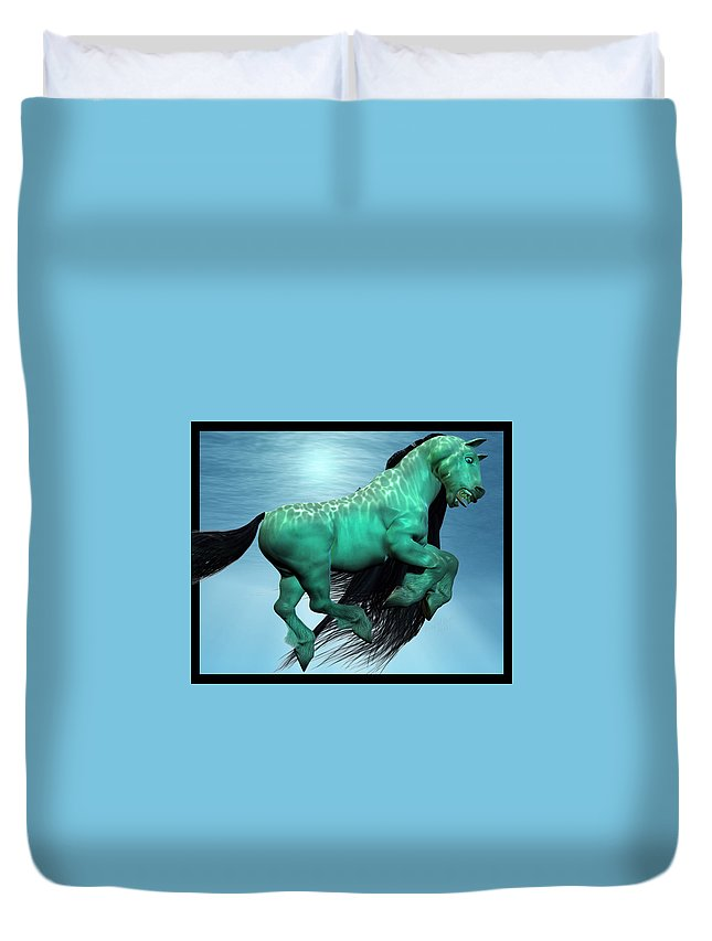 Horse Duvet Cover featuring the digital art Carousel II by Betsy Knapp