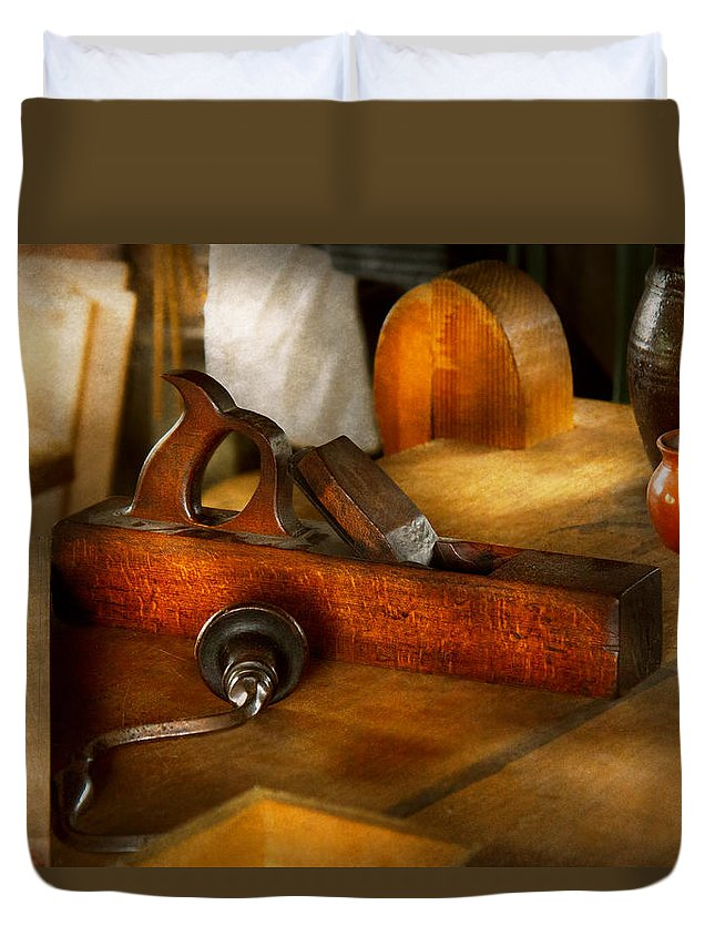 Plane Duvet Cover featuring the photograph Carpenter - The Humble Shop Plane by Mike Savad