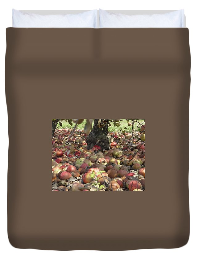 Apples Duvet Cover featuring the photograph Carpet Of Apples by Alexey Stiop