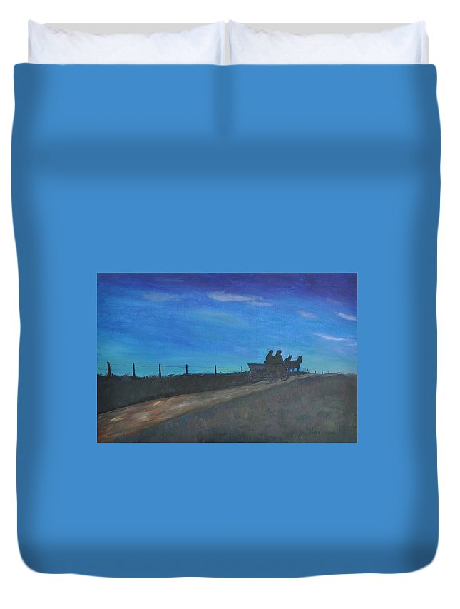 Blue Duvet Cover featuring the painting Carreta by Asher Topel