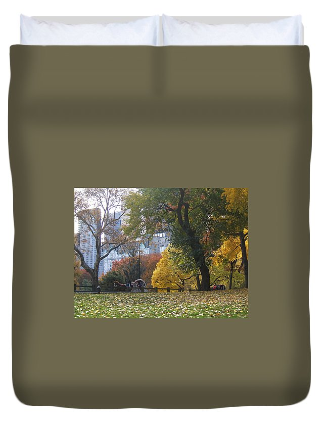 central Park Duvet Cover featuring the photograph Carriage Ride Central Park In Autumn by Barbara McDevitt