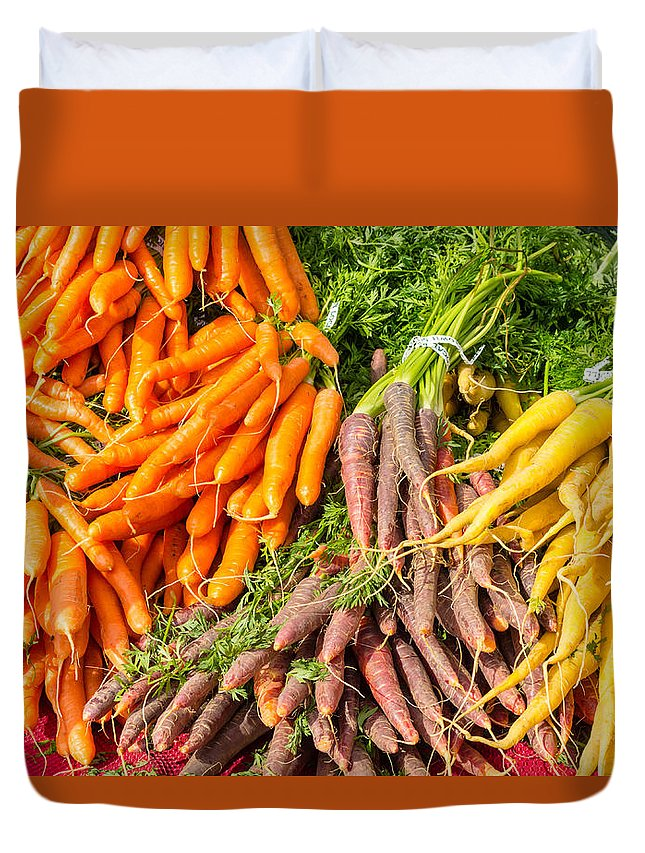 Agriculture Duvet Cover featuring the photograph Carrots At The Market by John Trax