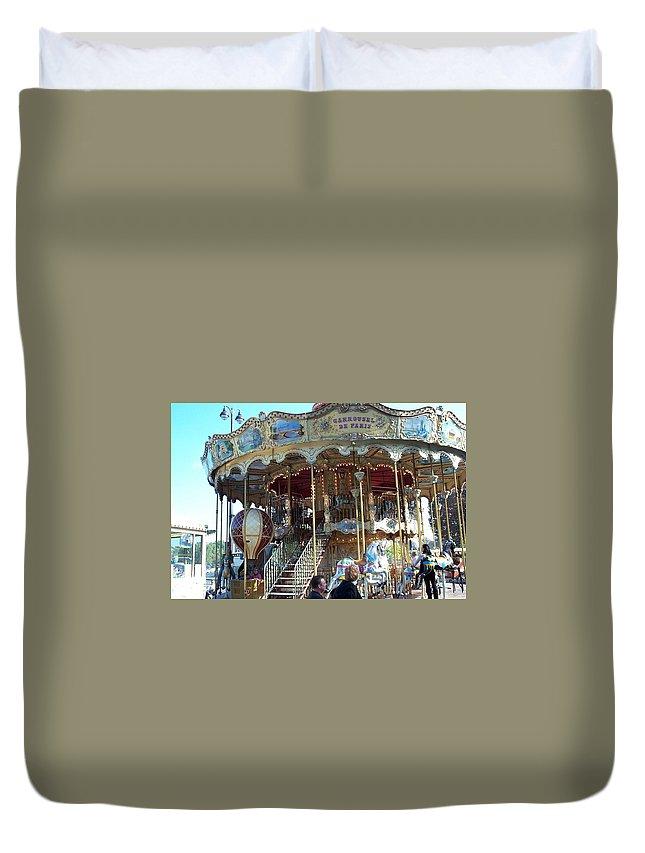 Paris Duvet Cover featuring the photograph Carrousel De Paris by Barbara McDevitt