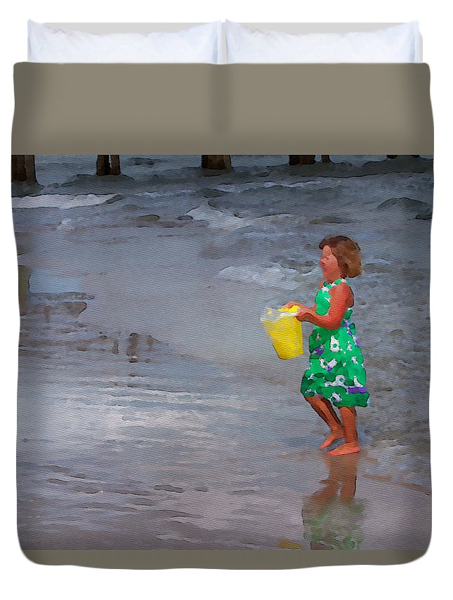 Girl Duvet Cover featuring the photograph Carrying Water by Alice Gipson