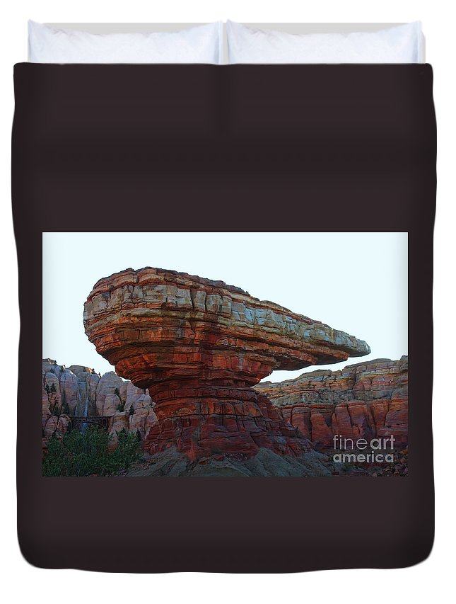 Disney California Adventure Duvet Cover featuring the photograph Cars Land Canyon by Tommy Anderson
