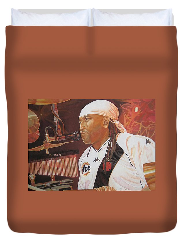 Carter Beauford Duvet Cover featuring the drawing Carter Beauford At Red Rocks by Joshua Morton