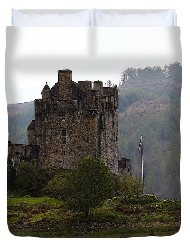 Bridge Duvet Cover featuring the digital art Cartoon - Structure Of The Eilean Donan Castle In Front With Dry Part Of Lake by Ashish Agarwal