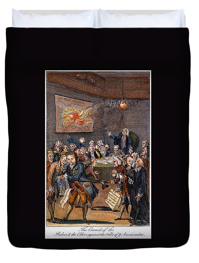 1770s Duvet Cover featuring the photograph Cartoon: Politicians by Granger