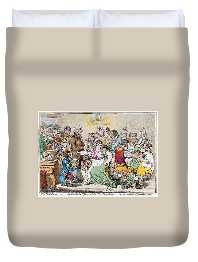 1802 Duvet Cover featuring the photograph Cartoon: Vaccination, 1802 by Granger