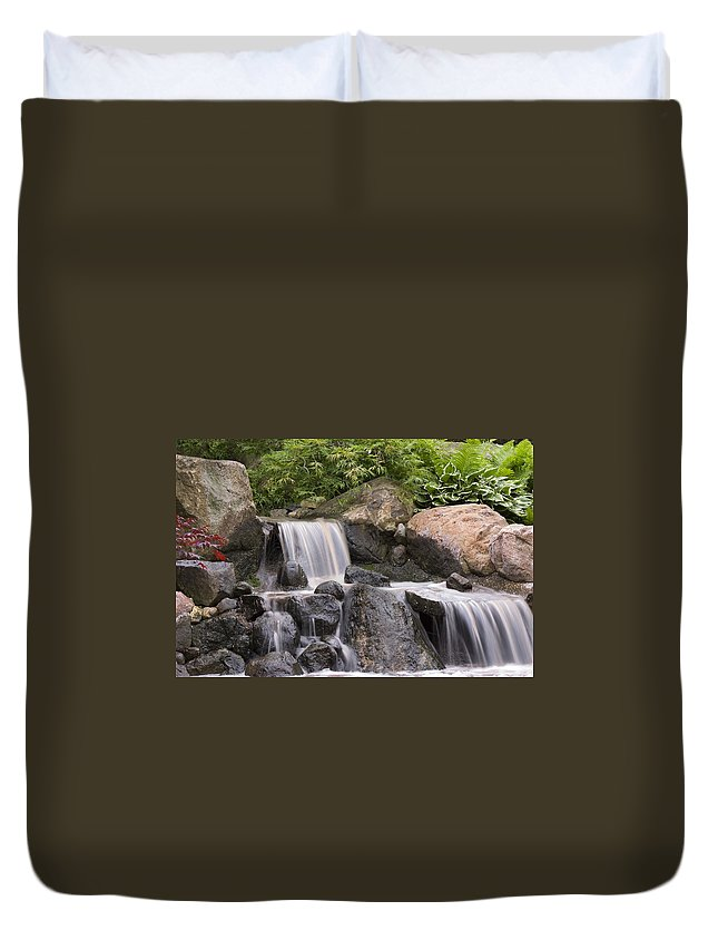 3scape Duvet Cover featuring the photograph Cascade Waterfall by Adam Romanowicz
