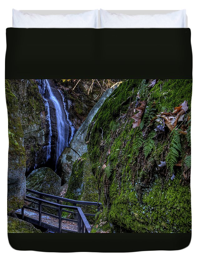 Waterfall Duvet Cover featuring the photograph Cascade Waterfall by David Dufresne