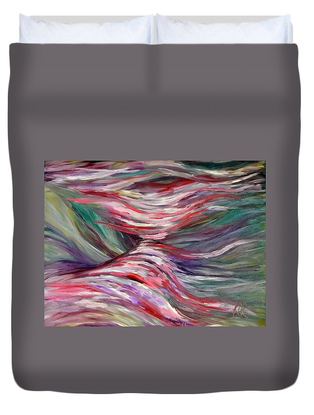 Abstract Duvet Cover featuring the painting Cascades by Art by Kar