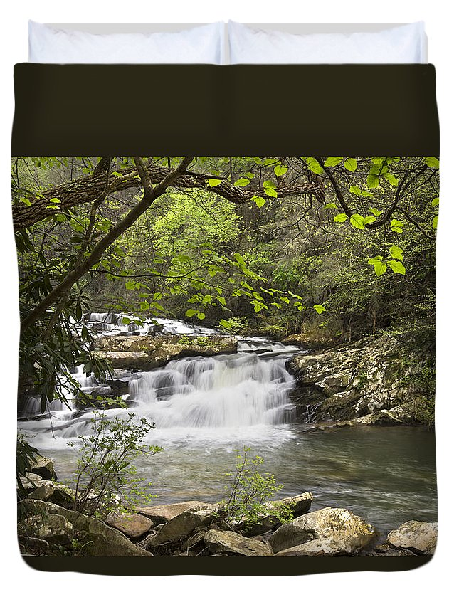 Appalachia Duvet Cover featuring the photograph Cascades At Coker Creek by Debra and Dave Vanderlaan