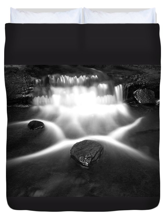 Black Duvet Cover featuring the photograph Cascading Waterfall Black And White by John Stephens
