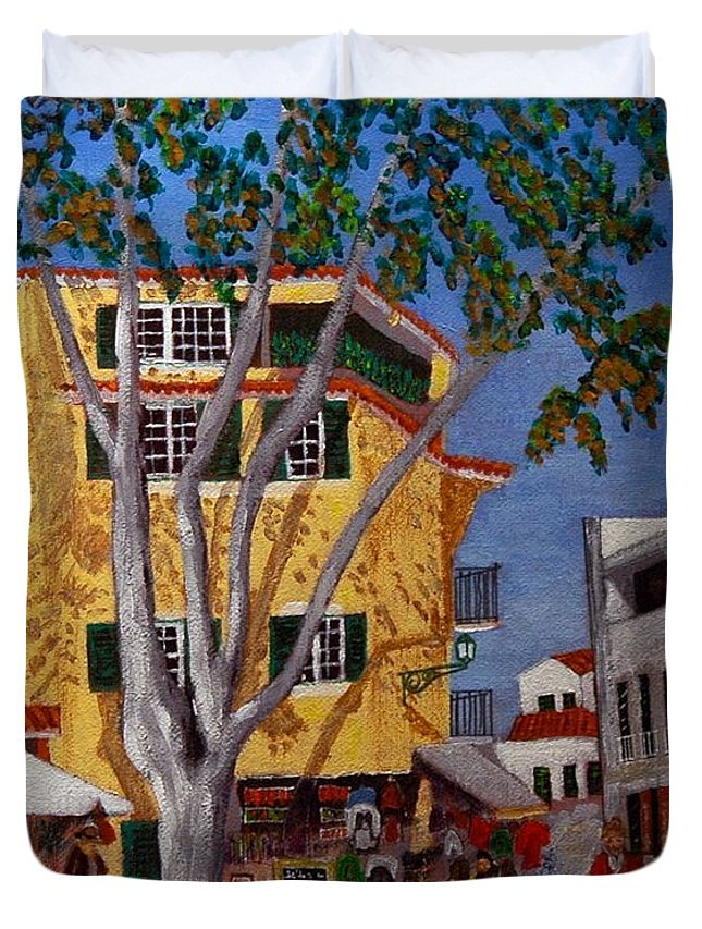 Cascais Duvet Cover featuring the painting Cascais Centre by Vitor Fernandes VIFER