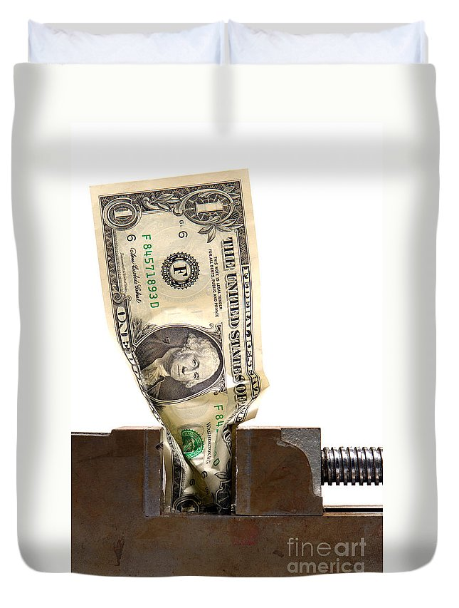 Dollar Duvet Cover featuring the photograph Cash Crunch by Olivier Le Queinec
