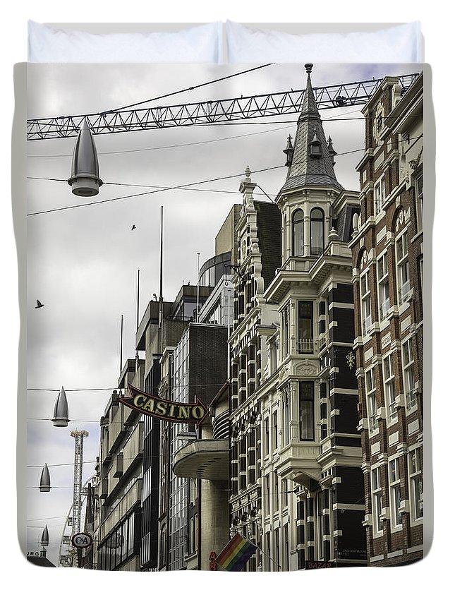 2014 Duvet Cover featuring the photograph Casino Arcade Damrak Amsterdam by Teresa Mucha