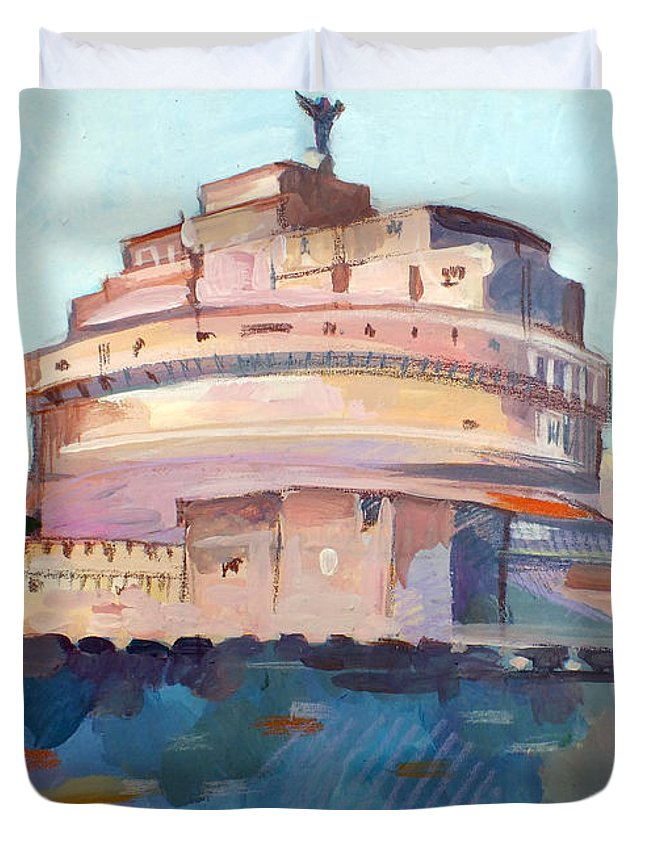 Rome Duvet Cover featuring the painting Castel Sant' Angelo by Filip Mihail