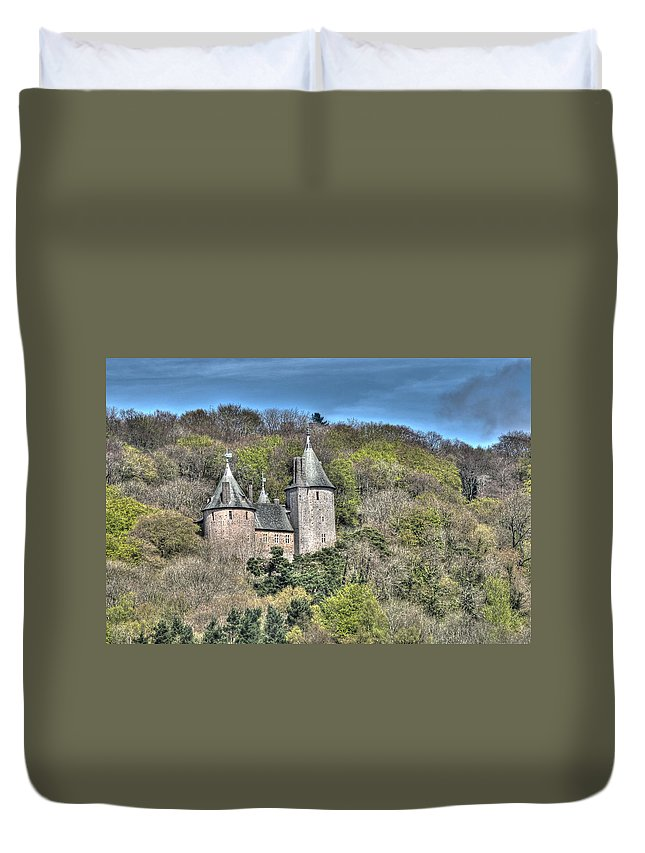 Castell Coch Duvet Cover featuring the photograph Castell Coch Cardiff Painterly by Steve Purnell