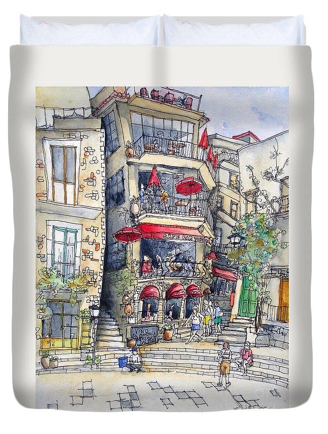 Castelmola Duvet Cover featuring the painting Castelmola 4 by Jeffrey Williams