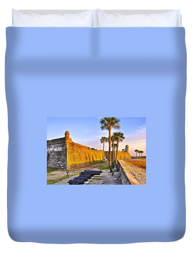 Florida Duvet Cover featuring the photograph Castillo Sunrise by Re Dub