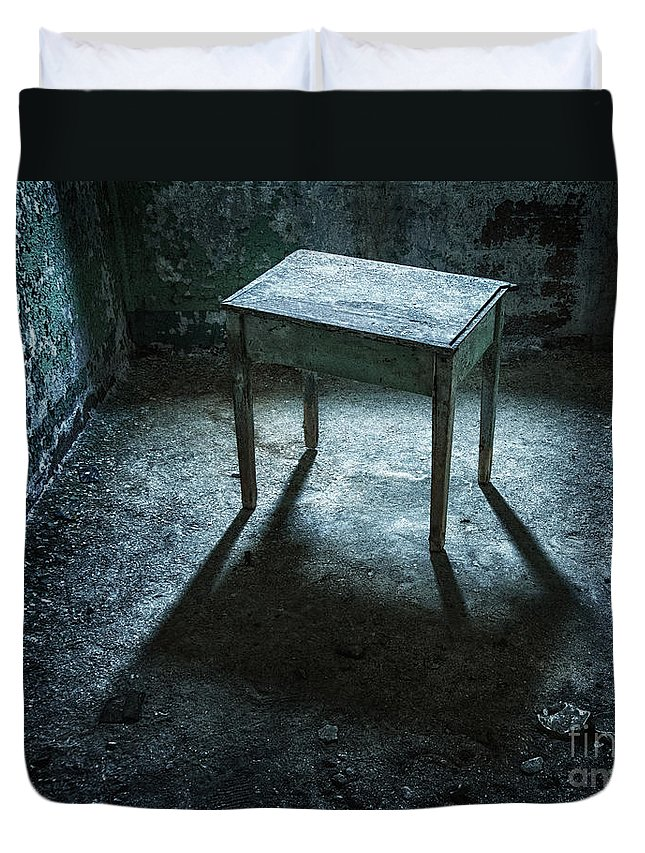Penitentiary Duvet Cover featuring the photograph Casting A Shadow by Claudia Kuhn