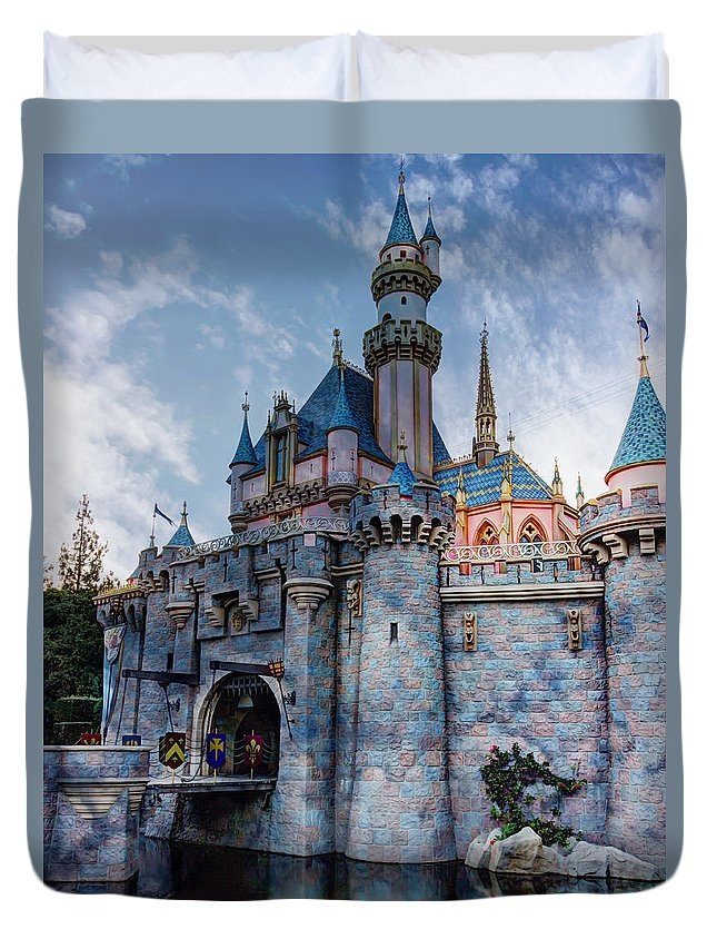 Sleeping Beauty Duvet Cover featuring the photograph Castle And Clouds by Heidi Smith