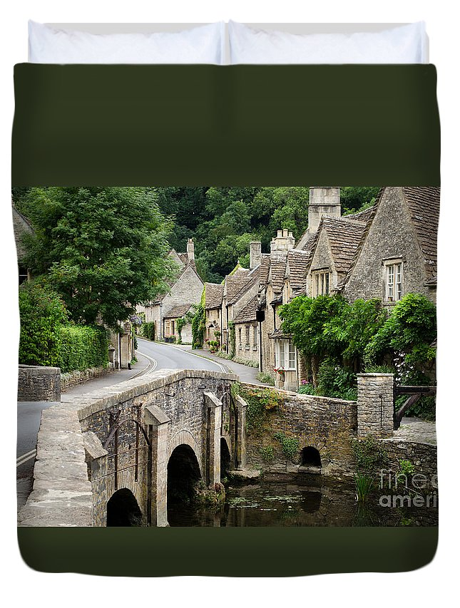 Castle Combe Duvet Cover featuring the photograph Castle Combe Cotswolds Village by IPics Photography