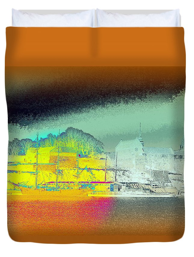 Akeshus Duvet Cover featuring the photograph When You Dream Of A Sailship And An Old Castle by Hilde Widerberg