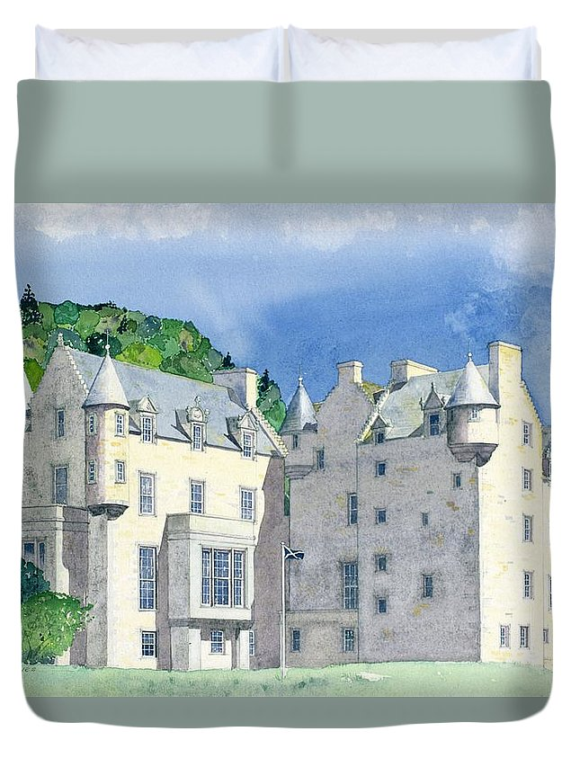Scottish; Landscape; Royal Residence Duvet Cover featuring the painting Castle Menzies by David Herbert