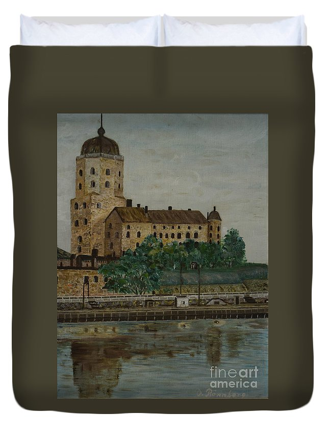 Castle Of Vyborg Duvet Cover featuring the painting Castle Of Vyborg by O Ronnberg