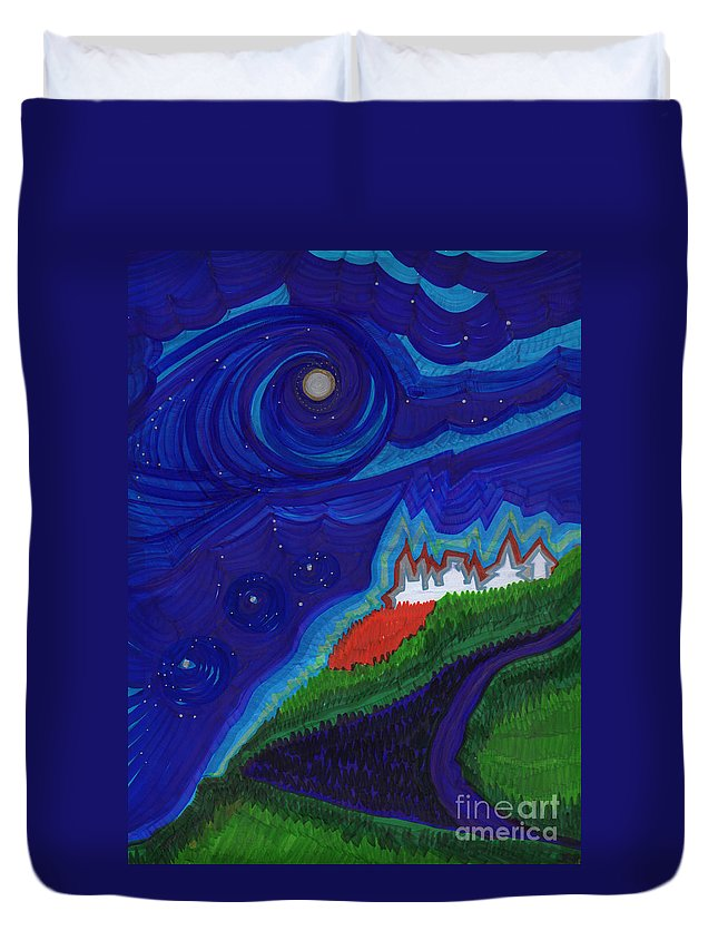 First Star Art Duvet Cover featuring the drawing Castle On The Cliff By Jrr by First Star Art