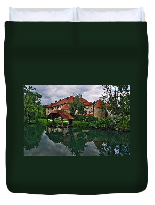 Slovenia Duvet Cover featuring the photograph Castle Otocec by Ivan Slosar