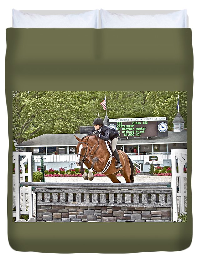 Castlekeep Jumper Jumping Hunter Devon Horse Show 2012 Duvet Cover featuring the photograph Castlekeep by Alice Gipson